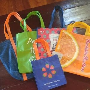 Lot of Five Totes/Bags - Grocery, Shopping, Beach